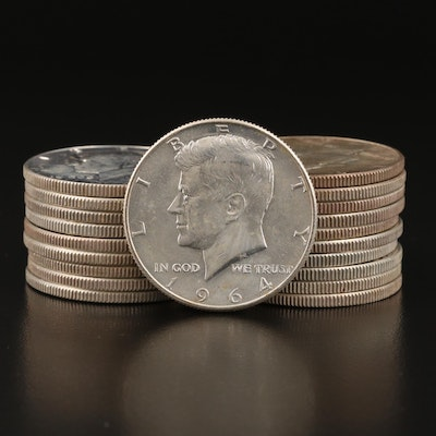 Roll of Twenty Uncirculated 1964 Kennedy Silver Half Dollars