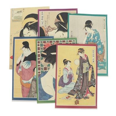 Offset Lithographs After Kitagawa Utamaro, Late 20th Century