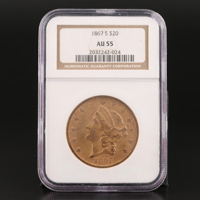 NGC Graded AU55 1867-S $20 Liberty Head Double Eagle Gold Coin