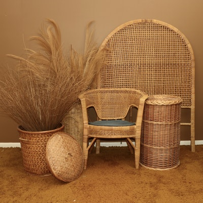 Twin Size Headboard, Armchair, and Other Rattan Furnishings