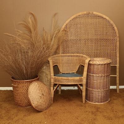 Twin Size Headboard, Armchair, and Other Rattan Furnishings