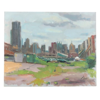"William Pfahl Oil Painting ""Pittsburgh, Strip District Construction,"" 2018"