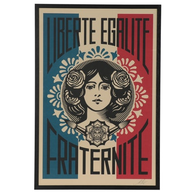 """Shepard Fairey Offset Print """"Liberté Egalité Fraternité,"""" 2021"""