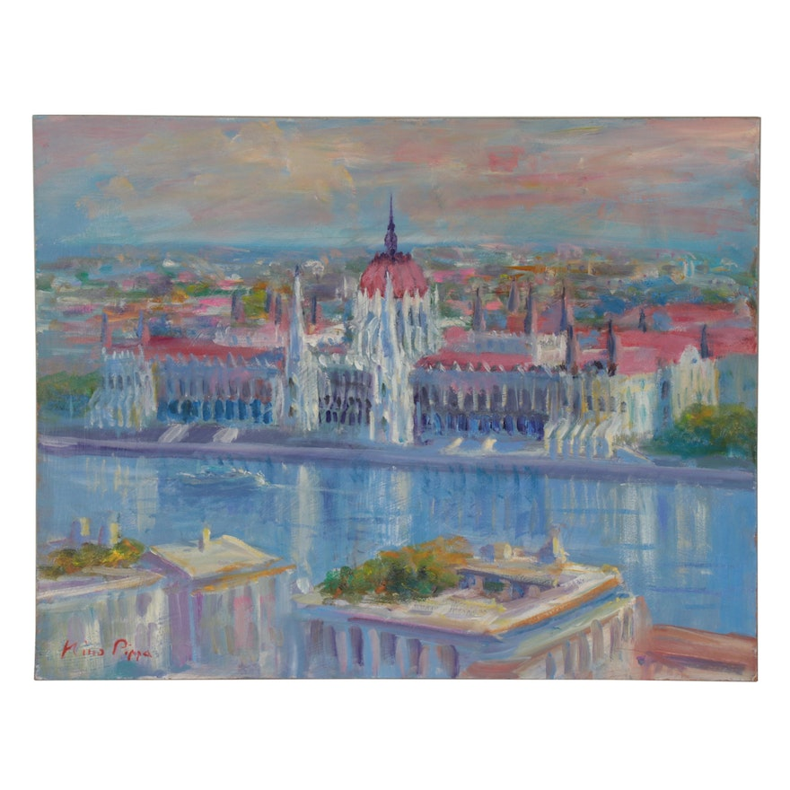 """Nino Pippa Oil Painting """"Budapest - Reflections on the Danube,"""" 2013"""
