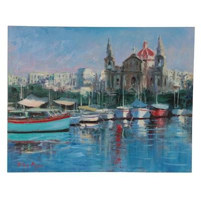 "Nino Pippa Oil Painting ""Malta - Fishing Village,"" 2016"