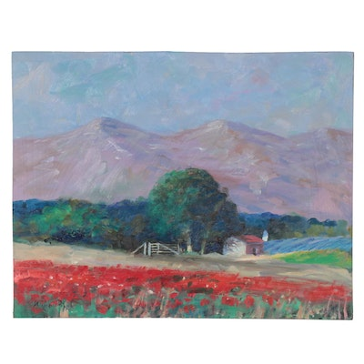 "Nino Pippa Landscape Oil Painting ""Provence - Flower Fields in the Rhone Valley"""