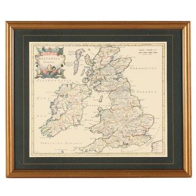 "Offset Lithograph Map ""Britannia Romana"""