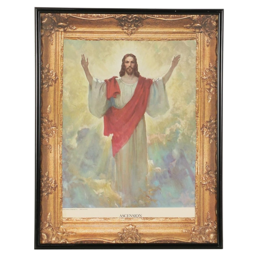 """Offset Lithograph of Jesus Christ """"Ascension"""""""