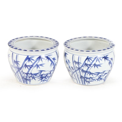 Pair of Garden Ridge Chinese Style Blue and White Ceramic Jardinières