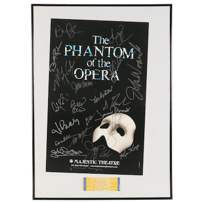 "Signed ""The Phantom of the Opera"" Poster and Ticket, 1996"