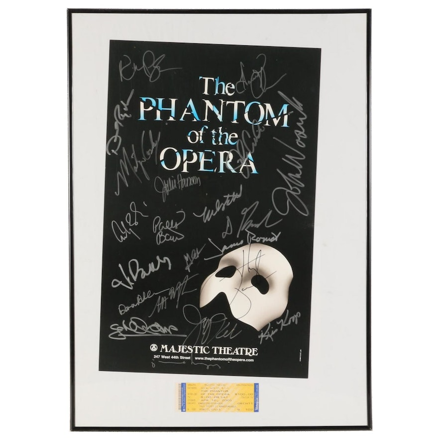 """Signed """"The Phantom of the Opera"""" Poster and Ticket, 1996"""