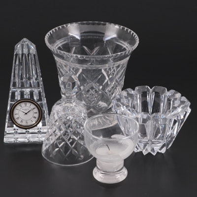 Waterford Crystal Obelisk Clock with Other Crystal Tableware, Mid to Late 20th C