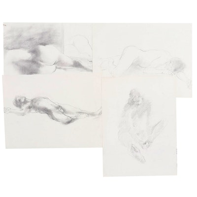John Tuska Figural Graphite Sketches, Late 20th Century