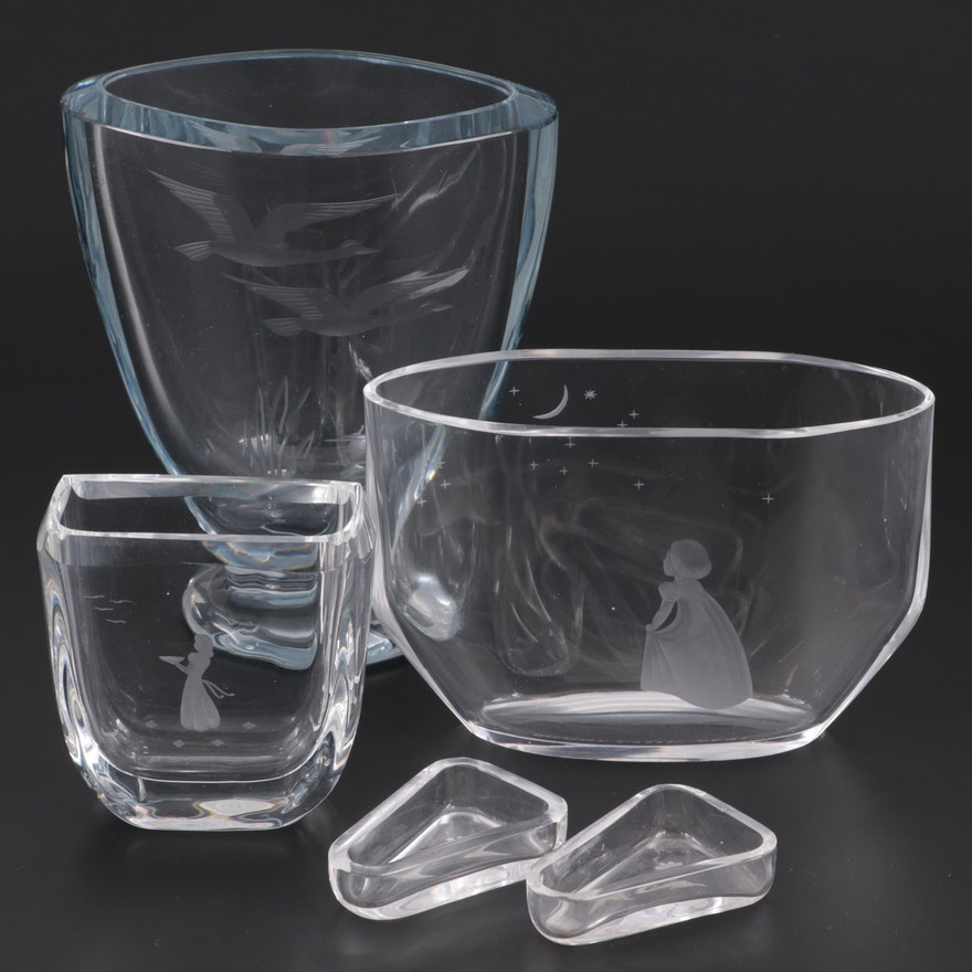 """Orrefors """"Wish to the Moon"""" with Other Etched Vases and Dishes"""