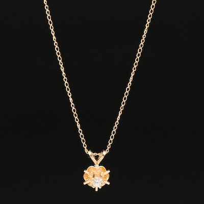 14K 0.10 CT Diamond Solitaire Pendant Necklace