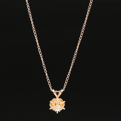14K 0.10 CT Diamond Solitaire Pendant Necklace
