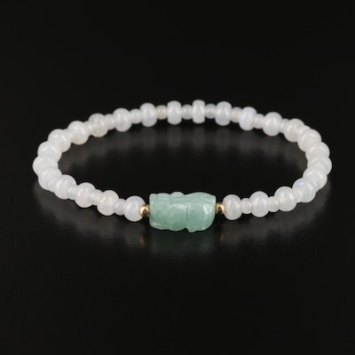 Jadeite Expandable Bracelet with 14K and Carved Bead Accents