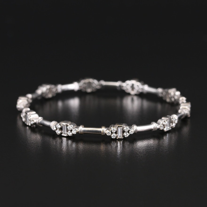 14K 2.20 CTW Diamond Hinged Bangle