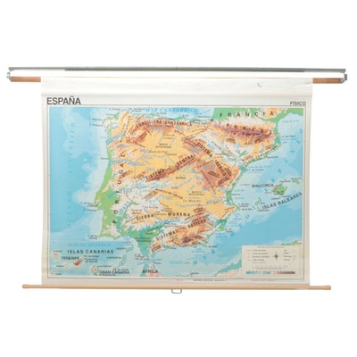 Edigol Spanish Language Double-Sided Pull Down Map of Spain