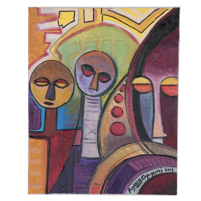 "Azeez Oyeyemi Acrylic Painting ""Vision of Great Family,"" 2019"