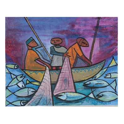 "Azeez Oyeyemi Acrylic Painting ""Fishing,"" 2000"
