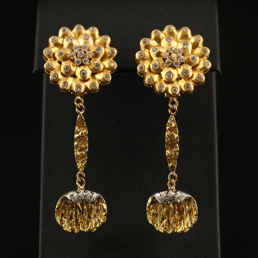 18K 1.19 CTW Diamond Floral Earrings