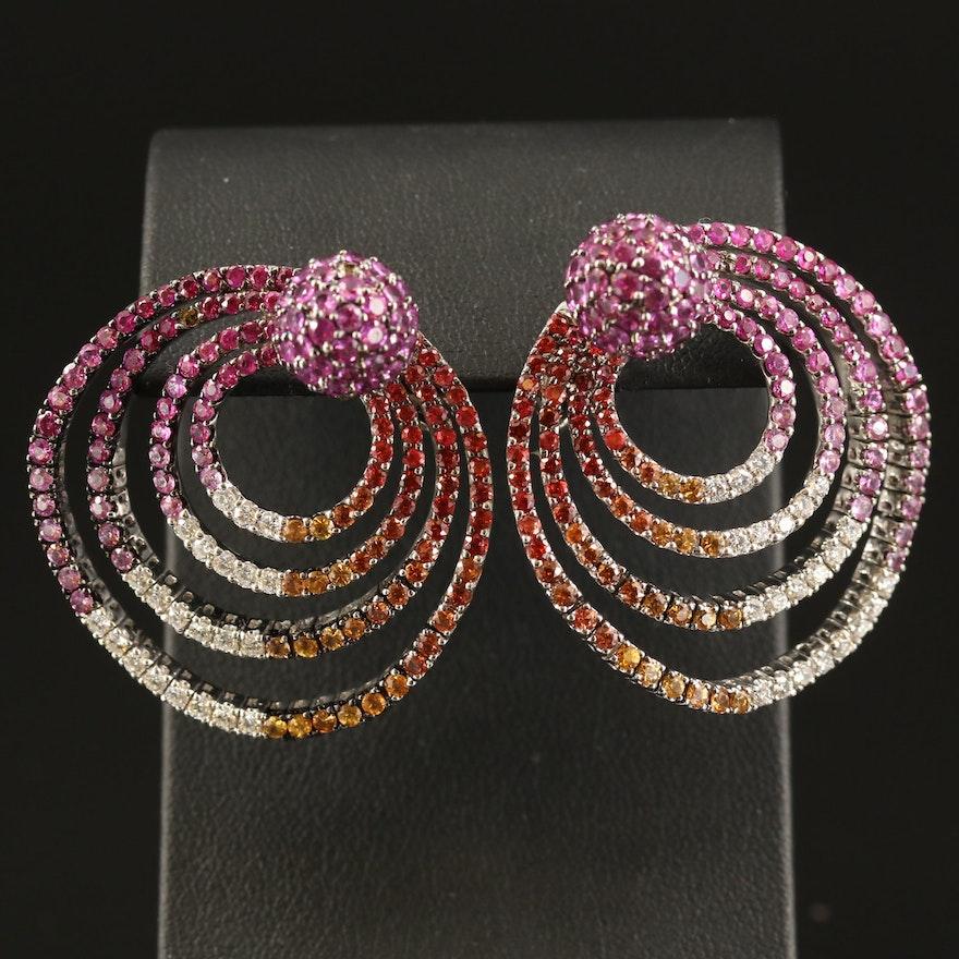 Butani 1.17 CTW Diamond, Sapphire and Ruby Spiral Earrings