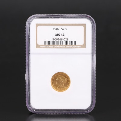NGC Graded MS62 1907 Liberty Head $2.50 Gold Quarter Eagle