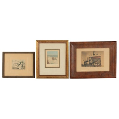 Wallace Nutting Seascape and Other Hand-Tinted Interior Scenes