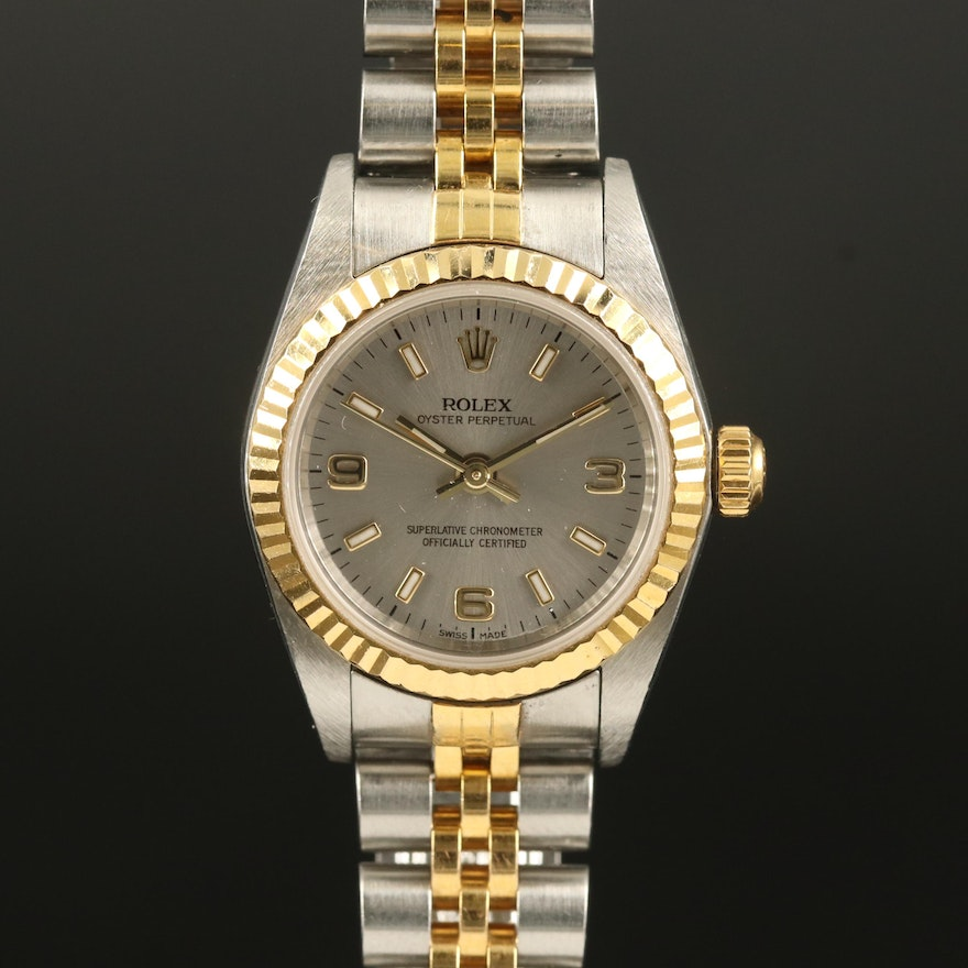 """2001 Rolex """"Oyster Perpetual"""" 18K and Stainless Steel Wristwatch"""