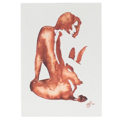 Alyona Glushchenko Figural Watercolor Painting of Kneeling Woman