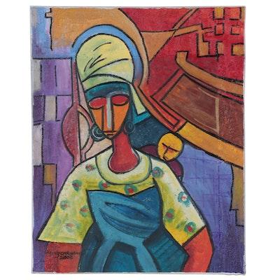 """Azeez Oyeyemi Acrylic Painting """"Sweet Mother,"""" 2000"""