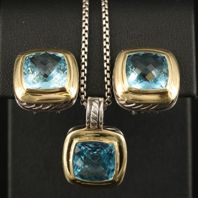 David Yurman Sterling Topaz Necklace and Earring Set with 18K Accents