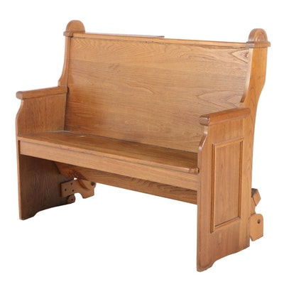 Oak Church Pew Bench, Mid to Late 20th Century