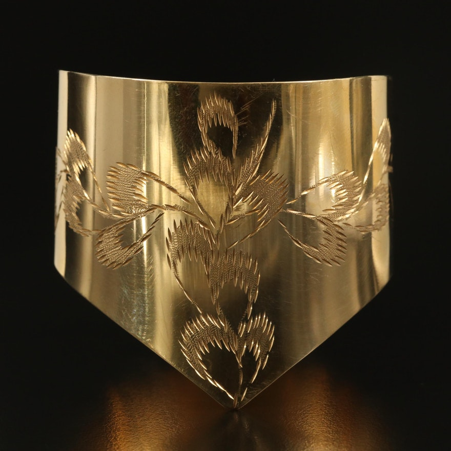 14K Etched Cuff with Foliate Design