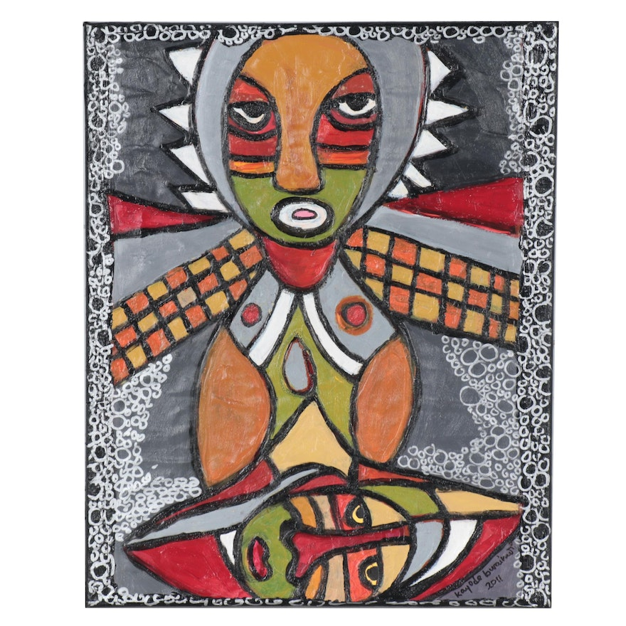 """Kayode Buraimoh Mixed Media Painting """"Rise and Fight for Your Right,"""" 2011"""