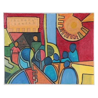"Azeez Oyeyemi Acrylic Painting ""Future Begins Here,"" 2020"
