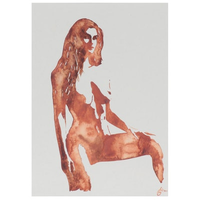 Alyona Glushchenko Figural Watercolor Painting of Female Nude, 2021