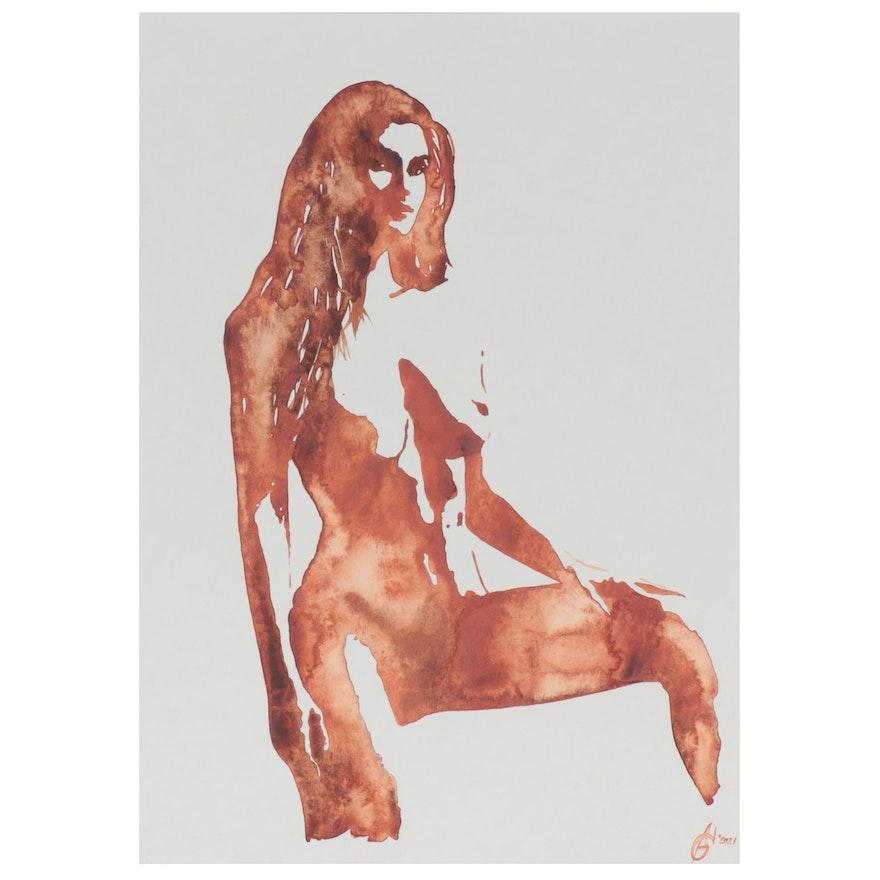 Alyona Glushchenko Figural Watercolor Painting of Female Nude, 2021