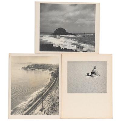 Hugo Meneghelli Silver Gelatin Photographs of Beaches, Mid-20th Century