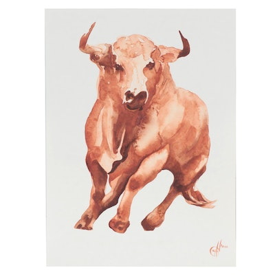 Alyona Glushchenko Watercolor Painting of Bull, 2021
