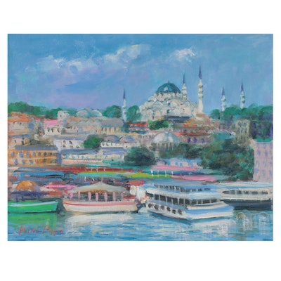 """Nino Pippa Oil Painting """"Istanbul - Reflections on the Golden Horn,"""" 2018"""