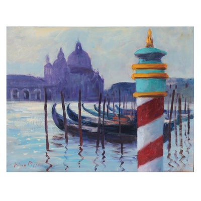 "Nino Pippa Oil Painting ""Venice - Grand Canal by La Salute,"" 2015"