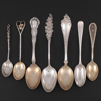 Whiting, Mechanics and Other Sterling Silver Teaspoons and Demitasse Spoons
