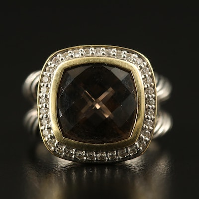 "David Yurman ""Albion"" Sterling Smoky Quartz and Diamond Ring with 18K Accent"