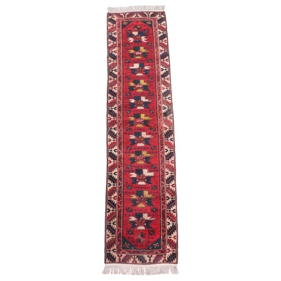 2'4 x 10'1 Hand-Knotted Caucasian Kazak Carpet Runner