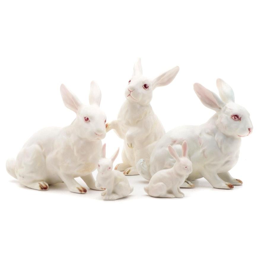White Ceramic Rabbit Figurines
