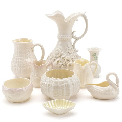 Belleek Aberdeen Pitcher with Other Belleek Porcelain Table Accessories