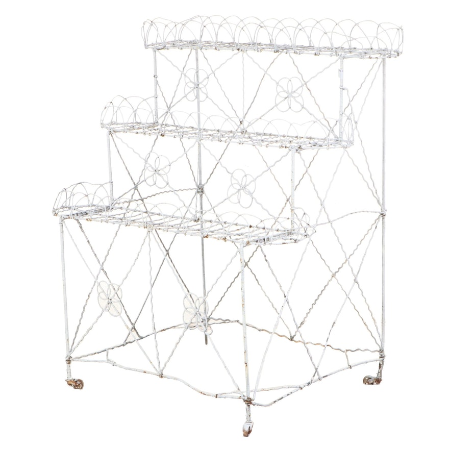 Late Victorian White-Painted Wirework Three-Tier Plant Stand