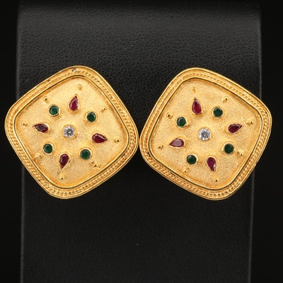 18K Ruby, Emerald and Diamond Geometric Button Earrings